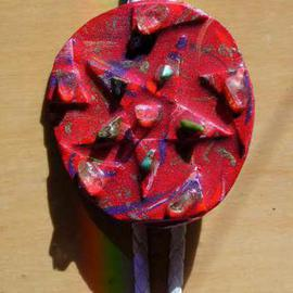 Richard Lazzara Artwork star disc bolo or pin ornament, 1989 Mixed Media Sculpture, Fashion
