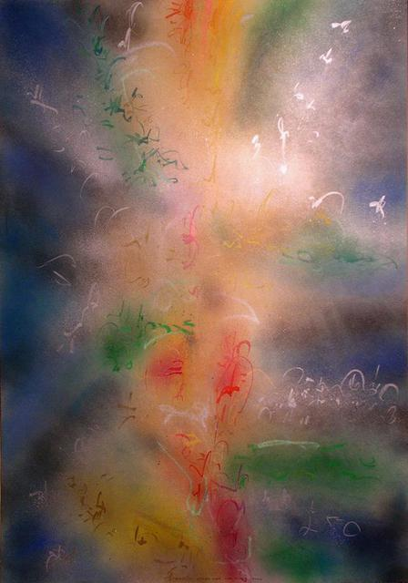 Richard Lazzara  'Stone Over The River Rushes', created in 1988, Original Pastel.