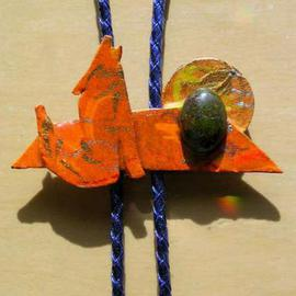 Richard Lazzara: 'sunset coyote bolo or pin ornament', 1989 Mixed Media Sculpture, Fashion. Artist Description: sunset coyote bolo or pin ornament from the folio LAZZARA ILLUMINATION DESIGN is available at