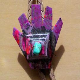Richard Lazzara Artwork top hand bolo or pin ornament, 1989 Mixed Media Sculpture, Fashion