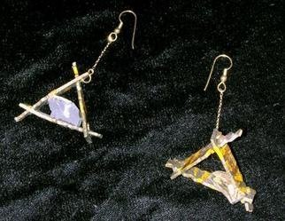Richard Lazzara: 'triangle swings ear ornaments', 1989 Mixed Media Sculpture, Fashion. triangle swings ear ornaments from the folio LAZZARA ILLUMINATION DESIGN are available at