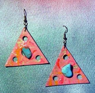 Richard Lazzara Artwork turquoise triangle ear ornaments, 1989 Mixed Media Sculpture, Fashion