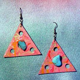 Richard Lazzara: 'turquoise triangle ear ornaments', 1989 Mixed Media Sculpture, Fashion. Artist Description: turquoise triangle ear ornaments from the folio LAZZARA ILLUMINATION DESIGN are available at