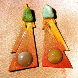 Richard Lazzara: 'tuscan embrace ear ornaments', 1989 Mixed Media Sculpture, Fashion. Artist Description: tuscan embrace ear ornaments from the folio LAZZARA ILLUMINATION DESIGN are available at