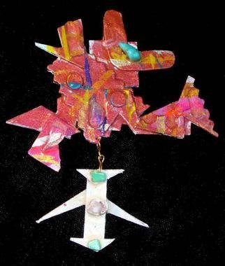 Richard Lazzara Artwork two part pin ornament, 1989 Mixed Media Sculpture, Fashion