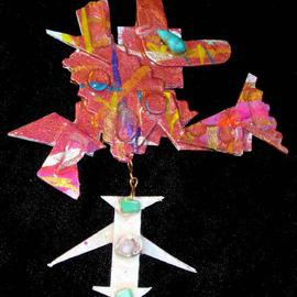 Richard Lazzara: 'two part pin ornament', 1989 Mixed Media Sculpture, Fashion. Artist Description: two part pin ornament from the folio LAZZARA ILLUMINATION DESIGN is available at