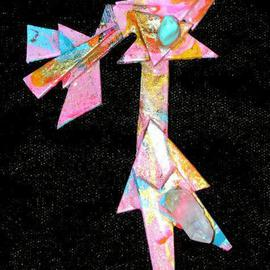 Richard Lazzara: 'walking clovis man pin ornament', 1989 Mixed Media Sculpture, Fashion. Artist Description: walking clovis man pin ornament from the folio LAZZARA ILLUMINATION DESIGN is available at