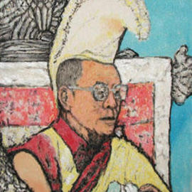 Richard Lazzara: 'young dalai lama', 2000 Acrylic Painting, Portrait. Artist Description: young dalai lama 2000  is from a card  from my visit in 1978  to Mcleod ganj and the mountain residence of the Dalai lama....
