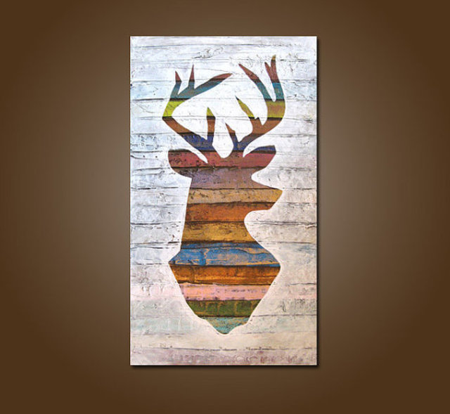 Deer Head Acrylic Painting By Shanna Daley Absolutearts Com
