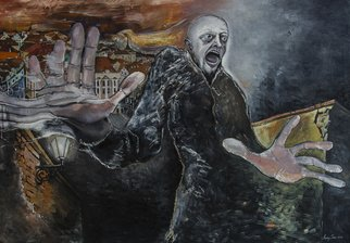 Andrei Sido: 'Number 24', 2013 Oil Painting, Expressionism. Artist Description:   Number 24, the fear, the horror, the city, Prague, a man, dark, night, death, loneliness, longing, inevitable catastrophe  ...