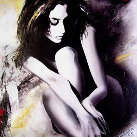 Stephen Harkola: 'Anna', 2015 Acrylic Painting, Abstract Figurative. Artist Description:  Acrylic Figure on canvas fashion model shadow smile texture pensive pop shadow spirit contrast angel hair monochrome nude danger body eastern  ...