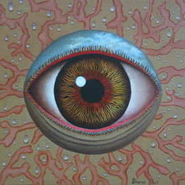 Sharon Ebert: 'Eye Dew', 2011 Oil Painting, Surrealism. Artist Description:  Sharon Ebert, sharonscapes, Eye Dew, surreal, surrealism, oil painting, linen, eye, sky, dew, blue, red, yellow, Fiji, South Pacific, coral ...