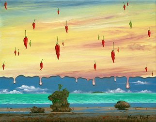 Sharon Ebert: 'Global Meltdown', 2008 Acrylic Painting, Surrealism.  The islands are melting away. . . even the chili's are sweating!  My concern about global warming. ...