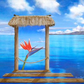Sharon Ebert: 'Hidden Paradise', 2006 Acrylic Painting, Surrealism. Artist Description:     surreal, surrealism, seascape, hibiscus, hut, bure, posts, rope, blue, mountains, clouds water, mountains, window, room, sky, Fiji    ...