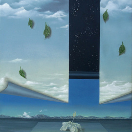 Sharon Ebert: 'Taking  Leave', 2010 Oil Painting, Surrealism. Artist Description:    Taking Leave, surreal, surrealism, oil painting, seascape, magic realism, skies, ocean, hibiscus flower, leaves, dew drops, starry, blue  ...