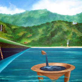 Sharon Ebert: 'Tanoa, Spear, Plane', 2006 Acrylic Painting, Surrealism. Artist Description:      surreal, surrealism, seascape, tanoa, spear, plane, Fijians, Fiji, ocean, sea, fire, fishing, huts, old, new, mountains, waterfall    ...