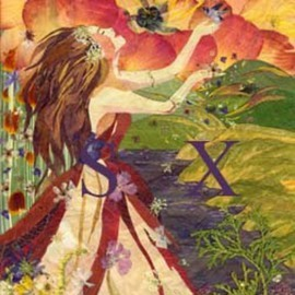 Shelley Xie Artwork spring shower  1of 4 seasons  pressed flower art, 2006 Collage, Figurative