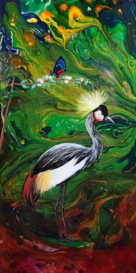 Artist: Shelly Leitheiser - Title: Crested Heron - Medium: Acrylic Painting - Year: 2012