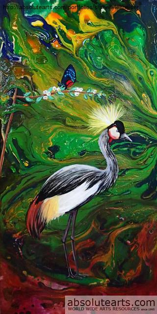 Shelly Leitheiser  'Crested Heron', created in 2012, Original Painting Other.
