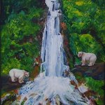 Human Bears at the Waterfall By Shelly Leitheiser