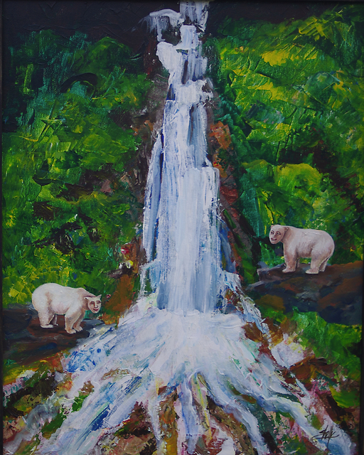 Artist Shelly Leitheiser. 'Human Bears At The Waterfall' Artwork Image, Created in 2010, Original Painting Other. #art #artist