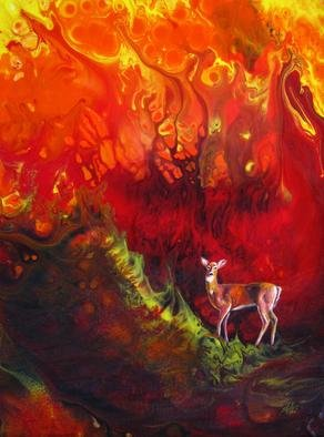 Shelly Leitheiser: 'Inevitable Inferno', 2012 Acrylic Painting, Ecological.  This painting is beautiful to look at with its chaotic colors, but it represents a serious situation. Inevitable Inferno refers to the changing climate we humans are creating, and the wild fires this is exacerbating in the Southwest US and other areas of the world that are susceptible to drought...