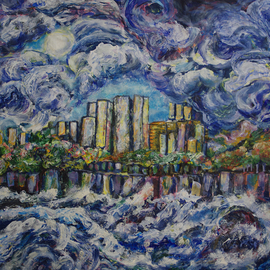 Shelly Leitheiser Artwork River City, 2012 Acrylic Painting, Expressionism