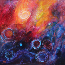 Shelly Leitheiser: 'Segment of the Lagoon', 2015 Acrylic Painting, Abstract. Artist Description:   This is an abstract nebula scene in bright colors such as oranges, magenta, blues and violets. Painted in 2015, it is 24