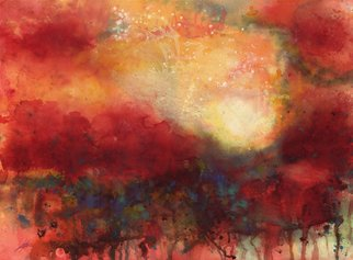 Shelly Leitheiser: 'SolScape', 2013 Watercolor, Abstract Landscape. Solscape is a watercolor abstract landscape. Like most watercolors I do of landscapes it' s somewhat futuristic and boldly colored. This painting was chosen as the cover for a book of poetry a couple of years ago called