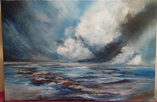 Shelly Leitheiser: 'Turbulence', 2015 Acrylic Painting, Impressionism.  This is a turbulent cloud and ocean landscape scene in natural, moody colors. Painted in 2015, it is 24