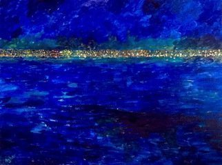 Azhar Shemdin: 'Lake Ontario at Night', 2016 Acrylic Painting, Cityscape.  From my studio window this is how I see the city of Hamilton located by Lake Ontario, at night. ...