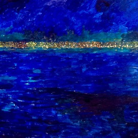 Azhar Shemdin: 'Lake Ontario at Night', 2016 Acrylic Painting, Cityscape. Artist Description:  From my studio window this is how I see the city of Hamilton located by Lake Ontario, at night. ...