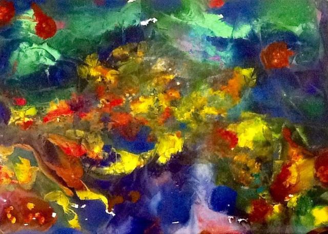 Azhar shemdin artwork school of fish original painting for Fish paintings on canvas