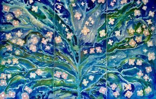 Azhar Shemdin: 'flowering tree of magical life', 2007 Acrylic Painting, Floral. Artist Description: A triptic of three panels of stretched canvas. Rivers and channels of liquid acrylics was used to get this flowing and magical result. ...