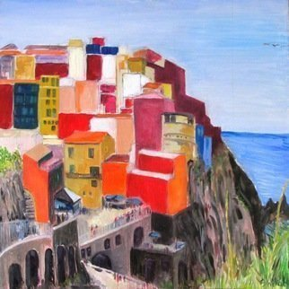 Dan Shiloh: 'Cinque terre Italy', 2017 Acrylic Painting, Landscape. Artist Description: 5 villages in northern Italy.  Beautiful colorful site. ...