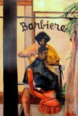Dan Shiloh: 'barber in italy', 2017 Oil Painting, Portrait. Artist Description: A barber working in Chianti Italy...