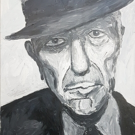 Dan Shiloh: 'homage to leonard cohen', 2018 Acrylic Painting, Portrait. Artist Description: One of my favourites singers. Upon his death I decide to paint a portrait of hime in black and white acrylic spatula painting...