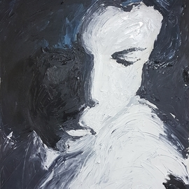 Dan Shiloh: 'woman in black', 2018 Acrylic Painting, Portrait. Artist Description: From a photo that I took while listening to Leonard Cohen song First we take Manhattan then we take Berlin.Its an acrylic painted with spatula. ...