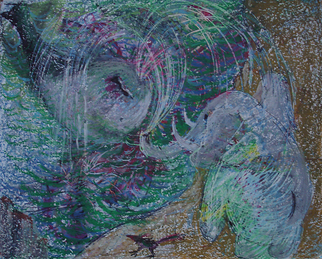 Veronica Shimanovskaya Artwork Whale and Elephant, 1989 Oil Pastel, Animals