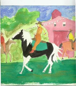 Shmuela Padnos: 'cowgir1l', 2001 Other Painting, Figurative. from series cowgirl callgirls and indian girls backbone of the west...