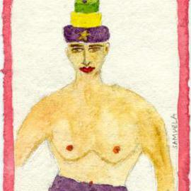 Shmuela Padnos: 'kingcakegirl', 2000 Other Painting, Nudes. Artist Description: a new orleans marti gras cake tradition...