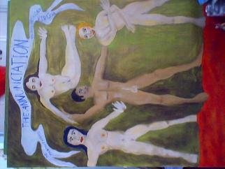Shmuela Padnos: 'the terroritst arrives to his promised virgins', 2005 Oil Painting, Political. the terrorist arrives and he is ready for all those promised virgins, he took viagra just before, when he arrives allah has the red clouds of the killing fields to cushion his feet and a virgin in all colors of hair, the only problem is their vaginas are sewn shut ...