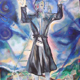 Shoshannah Brombacher: 'Between Heaven and Earth', 2004 Oil Painting, Meditation. Artist Description:  This painting shows a Chassidic story:Rabbi Aaron of Karlin said that a Jew shoud stand firmly with his two feet on the ground and that his head should reach to heaven. Have the best of two worlds and be practical. Ask for my many illustrated Chassid stories. ...