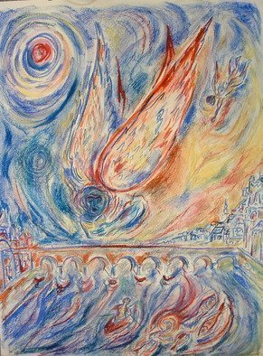 Shoshannah Brombacher: 'Fire Angel Bridge', 2005 Oil Pastel, Cityscape.  This is the Roman bridge in Maastricht in he Netherlands. ...