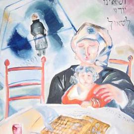 Shoshannah Brombacher: 'He who does not know what to ask', 1995 Oil Painting, Judaic. Artist Description: This work is part of a set about the four sons mentioned in the Hagada: the wise son, the wicked son, the simple son, and the son who does not know to ask questions. Usually this son is portrayed as a small child, but it could also be ...