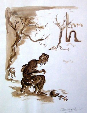 Shoshannah Brombacher: 'Hiob sitting on a dung heap', 2006 Ink Painting, Life. Artist Description:  I have a series of sepia ink drawings about the test and tragedies which befell the Biblical Hiob. This is only one of them, showing Hiob scratching himself with a pot shard, while his wife berates him. Please CONTACT me for all information about price, availability, commissions etc. : ...