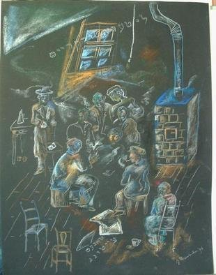 Shoshannah Brombacher: 'Literaturkrays', 1997 Pencil Drawing, Culture. This is a Jewish group in East Berlin in the nineties which came together to discuss lietrature in an old appartment with a tile stove. ...