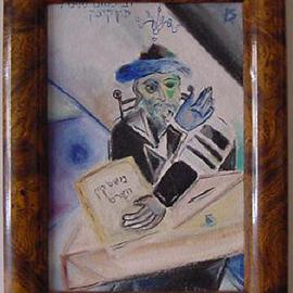 Shoshannah Brombacher: 'Nisht Kayn Vort', 1992 Oil Painting, Judaic. Artist Description: The Kotzker Rebbe was a very taciturn man, a recluse who prefered to stay alone in his study. The yiddish titel means: No word ( viz. , silence)...