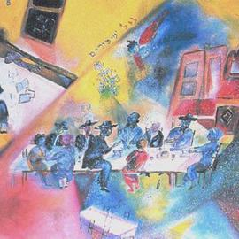 Shoshannah Brombacher: 'Seder at the Lower Eastside', 1992 Oil Painting, Judaic. Artist Description: This is a seder in a shul at the Lower Eastside of New York, which I attended after I arrived in the city, just married. I later set up my studio in this shul. The table with a lot of strange guests ( the crowd resembled a Three Penny ...