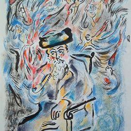 Shoshannah Brombacher: 'The Besht smokes his pipe', 2006 Other Drawing, Mystical. Artist Description:  The Baal Shem Tov releases the trapped Divine Sparks by smoking his pipe . This is a mystical story, please ask for more information. For ALL DETAILS ( including price, availability etc. etc. CONTACT SHOSHBM@ AOL. COM! DON' T first send and email through Abesolutearts. com please! !...